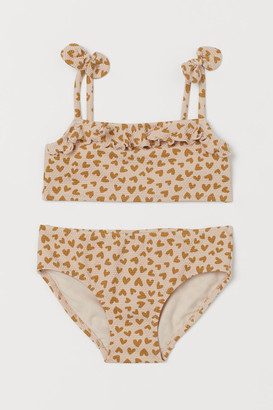 H&M Patterned Flounced Bikini - Beige