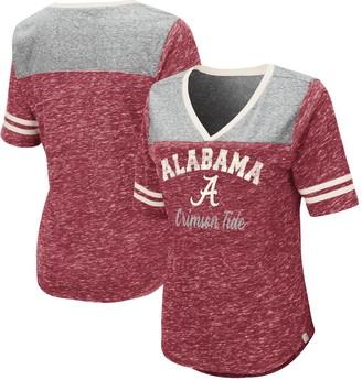 Colosseum Women's Heathered Crimson Alabama Crimson Tide Mr. Big V-Neck T-Shirt