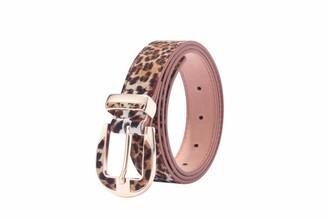 WODISON Women Belt Leopard Animal Print Adjustable Skinny Belt for Jeans