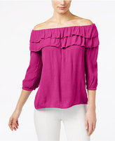 INC International Concepts Off-The-Shoulder Ruffled Top, Created for Macy's