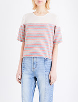 Sandro Striped cotton-blend top