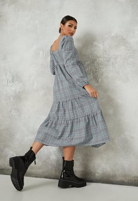 Missguided Gray Plaid Maternity Maxi Smock Dress
