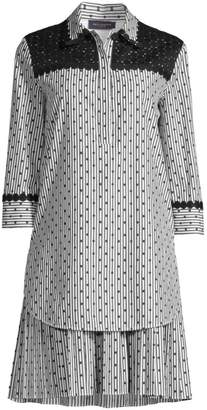 Piazza Sempione Polka-Dot & Stripes Shirtdress