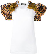 DSQUARED2 leopard puff sleeve T-shirt - women - Cotton/Polyester - S
