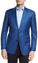 Armani Collezioni Check Wool Two-Button Sport Coat, Bright Blue