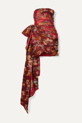 Oscar de la Renta Strapless Draped Brocade Mini Dress - Red