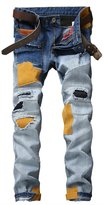 HerQueen Men jeans Broken Hole Skinny Tight Vintage Motor Patches Tapered Pants