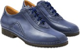 Pakerson Blue Italian Hand Made Leather Lace-up Shoes