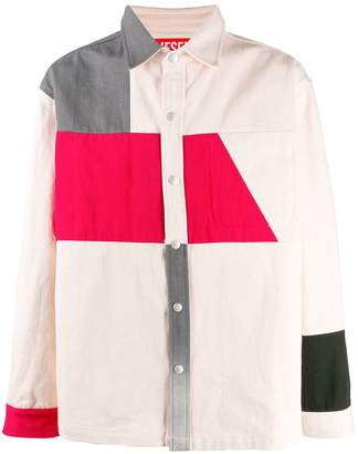 Diesel Red Tag colour block button-up shirt