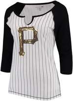 New Era Women's 5th & Ocean by White/Black Pittsburgh Pirates Pinstripe 3/4-Sleeve Notch Neck Raglan T-Shirt