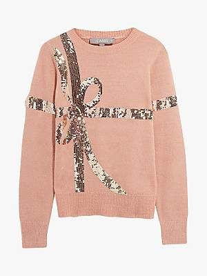 Oasis Bambi Bow Sequin Jumper