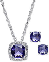Charter Club Silver-Tone Purple Crystal Pavé Necklace and Earrings Set, Only at Macy's