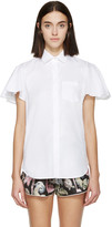 Valentino White Poplin Flutter Sleeve Shirt