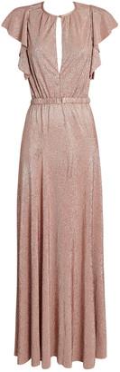 Sabina Musayev Topaz Flutter Sleeve Gown