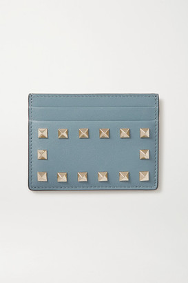 Valentino Garavani Rockstud Textured-leather Cardholder - Blue