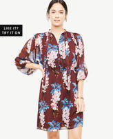 Ann Taylor Floral Tie Neck Shirtdress
