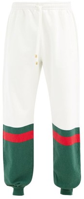 Gucci Logo-stripe Loopback Cotton-jersey Track Pants - Green White