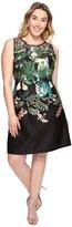 Adrianna Papell Plus Size Leafy Oasis Scuba A-Line Dress with Laser Cut Neckline