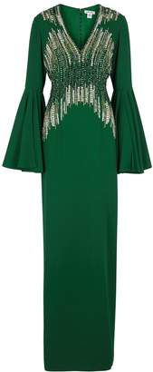 Pamella Roland Emerald Bead And Sequin-embellished Gown