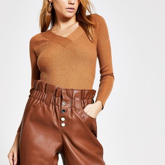 River Island Brown V neck fitted ribbed knit jumper
