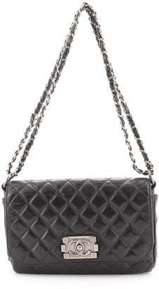 Chanel Boy Clasp Chain Bag Quilted Aged Calfskin Small