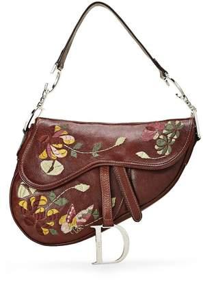 Christian Dior Brown Embroidered Leather Saddle Bag