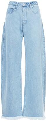 Marques Almeida High Waist Cotton Denim Wide Leg Jeans