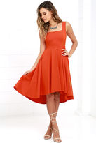 LuLu*s Course of Action Orange High-Low Dress