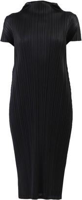 Pleats Please Issey Miyake Funnel-Neck Pleated Dress