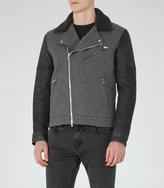 Reiss Reiss Florentine - Contrast Biker Jacket In Grey