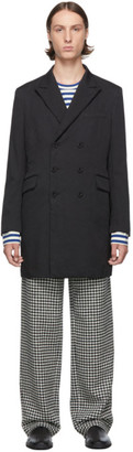 Junya Watanabe Black Double-Breasted Milled Coat