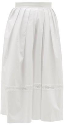 Thierry Colson Kirov Lace-insert Cotton Midi Skirt - Womens - White