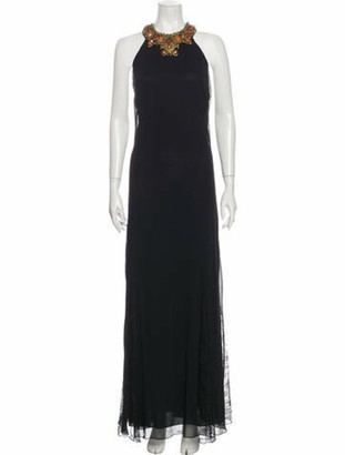 Alice + Olivia Halterneck Long Dress Black