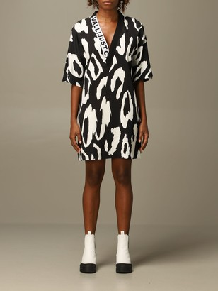 Just Cavalli Dress V-shaped Dress With Animal Print