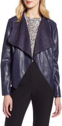 Halogen Faux Leather Drape Front Jacket