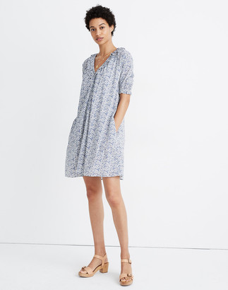 Madewell Ruffle Button-Front Trapeze Dress in Americana Floral