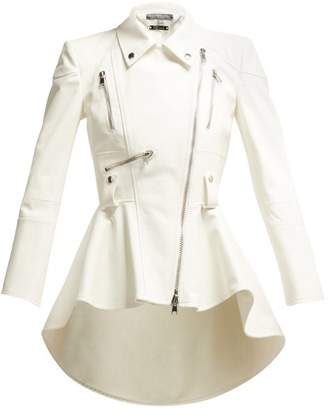 Alexander McQueen Peplum Leather Biker Jacket - Womens - Ivory
