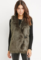 Forever 21 Contemporary Buckled Faux Fur Vest
