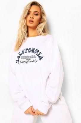 boohoo California Slogan Varsity Sweatshirt