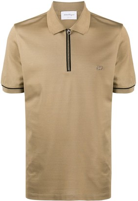 Salvatore Ferragamo Embroidered-Logo Zip-Front Polo