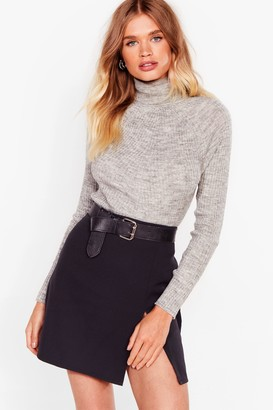 Nasty Gal Womens Roll With It Ribbed Turtleneck Jumper - Beige - L