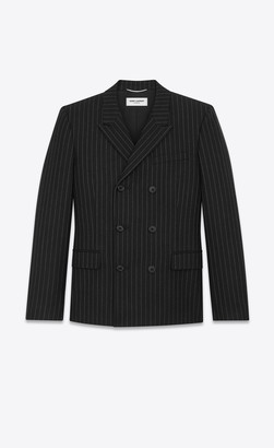 Saint Laurent Blazer Jacket Double-breasted Flannel Jacket With Rive Gauche Stripes Black And White 34