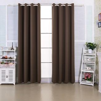 "Elegant Home Fashions 63"" Edessa Premium Insulated Thermal Blackout Window Panels - Hazelnut"