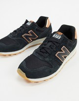 Polémico aeropuerto Volverse  New Balance 373 sneakers in black and rose gold - ShopStyle