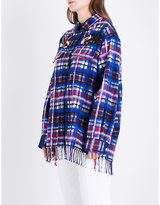 Tommy Hilfiger Oversized tartan brushed wool-blend shirt