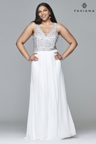 Faviana 9388 Chiffon v-neck plus size prom dress with beaded bust