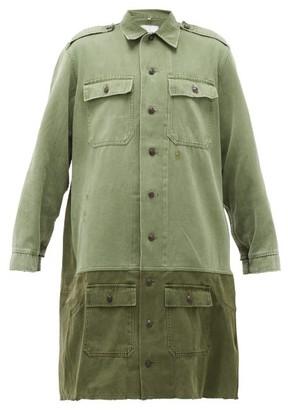 Myar - Banded-hem Longline Cotton-twill Shirt Dress - Khaki