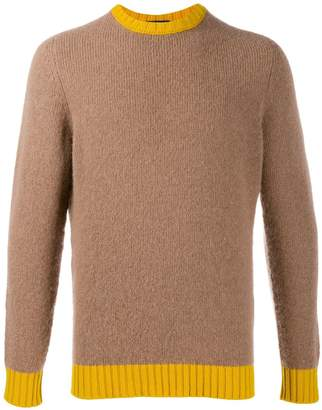 Drumohr contrast neck textured sweater