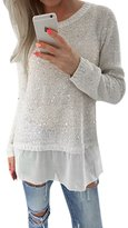Fashion story Women Bling Long Sleeve Jumper Casual Knit Top Sweater Blouse (XL, )