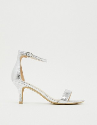 Glamorous Silver Barely There Kitten Heeled Sandals